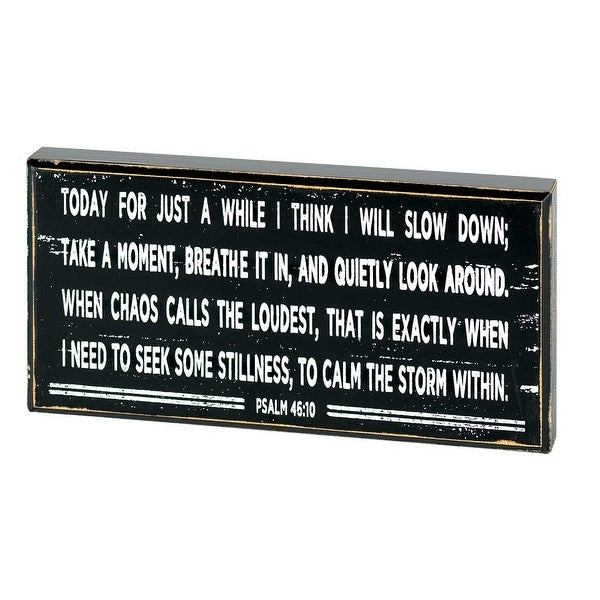 "8"" Black and White Inspirational Psalm 46:10 Tabletop Plaque - N/A"