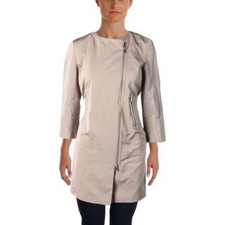 Lafayette 148 New York Womens Shelby 3/4 Sleeves Asymmetric Zip Jacket