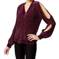 Marled Purple Womens Size XL Textured Twisted Cold-Shoulder Sweater