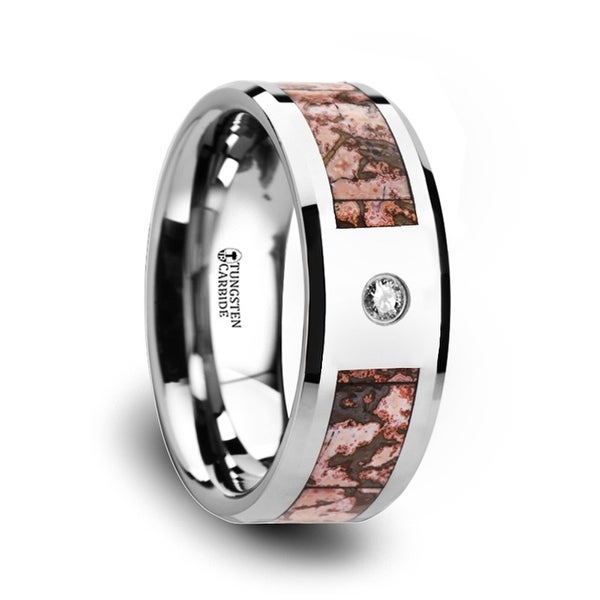 THORSTEN - Pink Dinosaur Bone Inlaid Tungsten Carbide Diamond Wedding Band with Beveled Edges