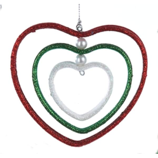 "4"" Nested Red, Green and White Glittered Heart Christmas Ornament"
