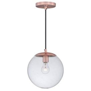 Vaxcel Lighting P0162 630 Series Single Light Pendant with Globe Shaped Seedy Glass Shade - Copper