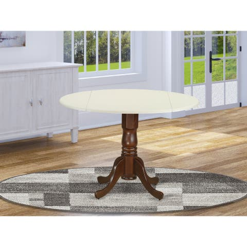 "DLT-OLW-TP Dublin Round Table with two 9"" Drop Leaves in Oak and Linen White Finish"