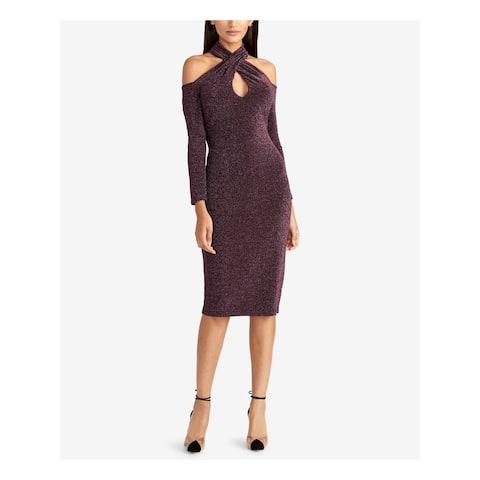 RACHEL ROY Purple Long Sleeve Knee Length Dress XXL