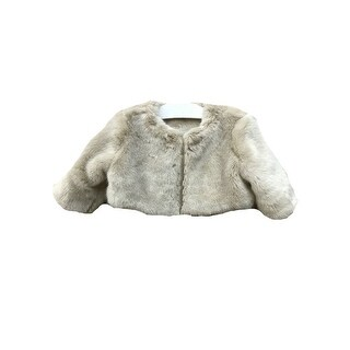 Little Girls Champagne Soft Faux Fur Lined Long Sleeve Jacket