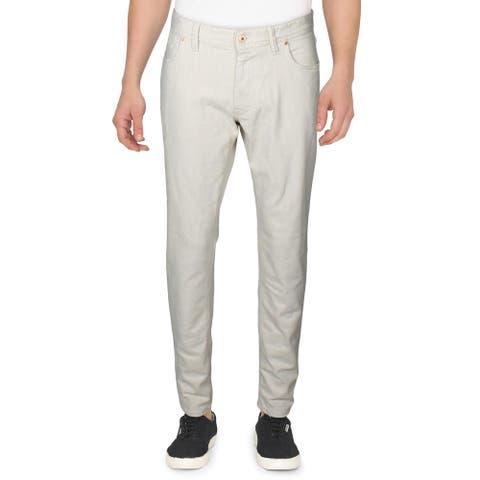 Robert Graham Mens Demetri Jeans Denim Mid-Rise - Wheat