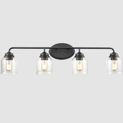 Velletri Modern Matte Black Bathroom Vanity Light Clear Glass Shade