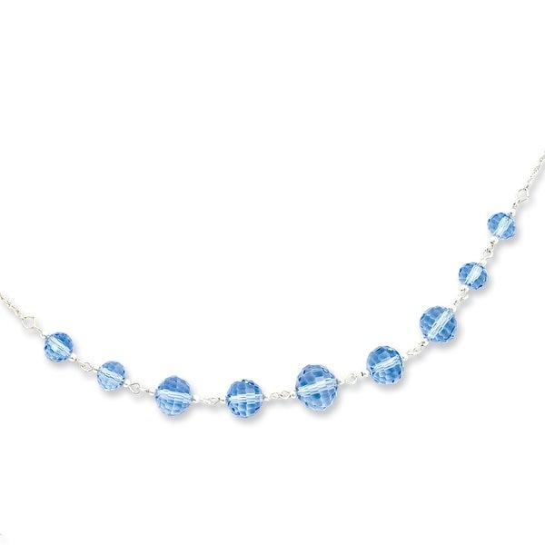 Silvertone Blue Crystal Beaded Necklace - 16in