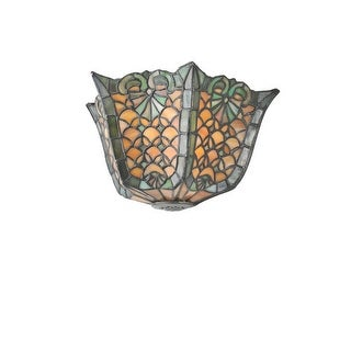 "Meyda Tiffany 99583 Shell and Diamond 12"" Wide 2 Light Wall Washer with Stained Glass Shade - Pewter"