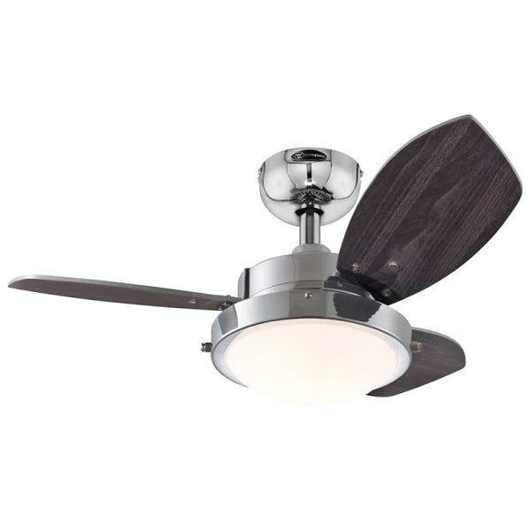"""Westinghouse 7876300 Wengue 30"""" 3 Blade Hanging Indoor Ceiling Fan with Reversible Motor, Blades, Light Kit, and Down Rod"""