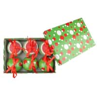 6-Piece Red, White and Green Polka Dot Decoupage Shatterproof Christmas Ball Ornament Set 2.75""