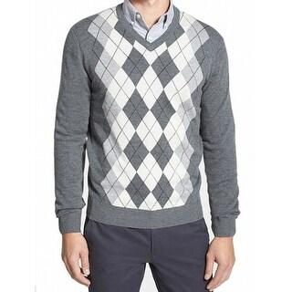 Toscano NEW Gray White Mens Size Large L Argyle V-Neck Wool Sweater