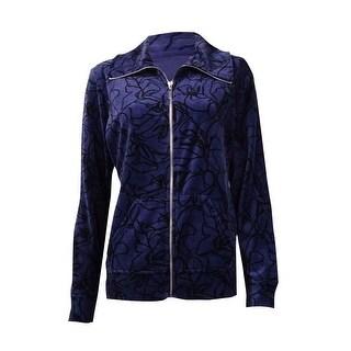 Style & Co. Women's Floral Print Pocket Zip Velour Jacket - vintage grape
