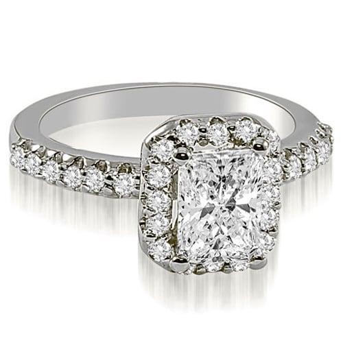1.42 cttw. 14K White Gold Emerald Cut Halo Diamond Engagement Ring