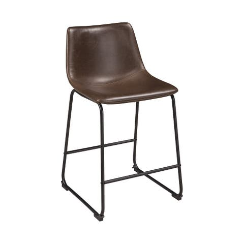 """Centiar Brown Upholstered Barstool - 18""""W x 22""""D x 34""""H"""