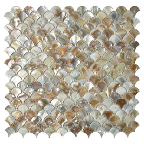 """Art3d 12""""x12"""" Mother of Pearl Tile Fan-Shaped Colorful Brown Seamless (10-Pack)"""