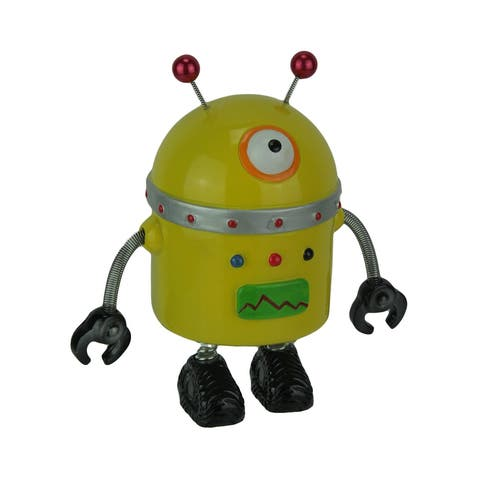 Spring Arm Retro Robot Coin Bank Money Box - 7 X 7 X 3.5 inches