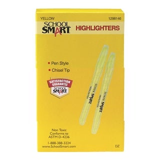 School Smart Highlighter, Chisel Tip, Yellow, Pack of 12