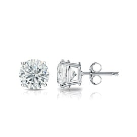 Auriya 14k White Gold 4-Prong Basket Round Diamond Stud Earrings (1/4 - 2 ct TDW, G-H, SI1-SI2) Push-Back