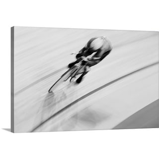 """""""Track cyclist in an individual pursuit race on velodrome"""" Canvas Wall Art"""
