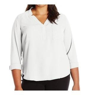 Nine West NEW White Women's Size 1X Plus Split-Neck Notched Blouse
