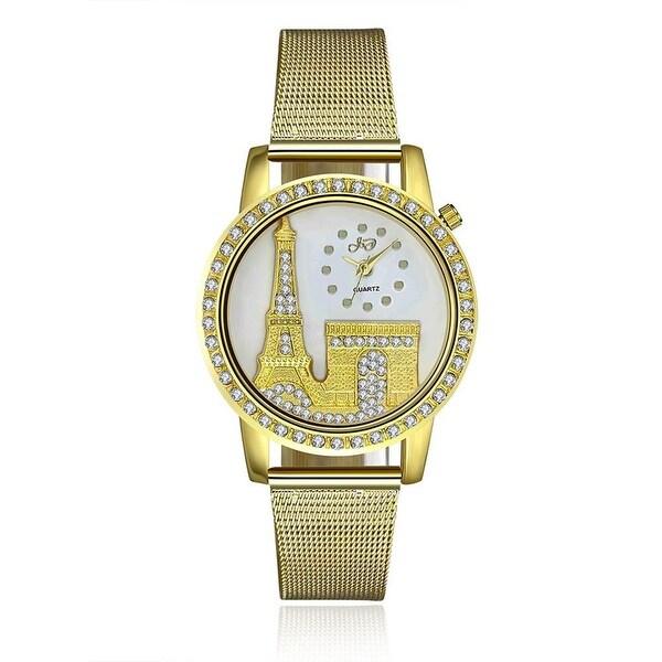 Mesh Gold Tone Eiffel Tower Watch