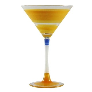 Set of 2 Orange Retro Stripe Hand Painted Martini Drinking Glasses - 7.5 Ounces