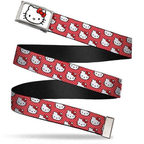 Hello Kitty Face Fcg White Bo Chrome Hello Kitty Faces Micro Dots Red Web Belt