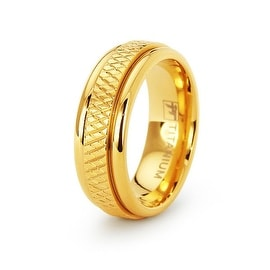 18k Gold Plated Womens Titanium Wedding Band - Size 6