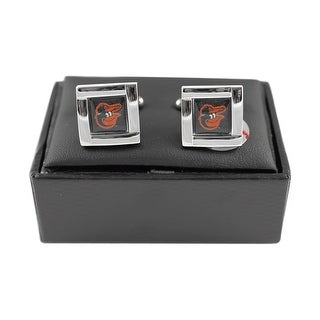 MLB Baltimore Orioles Square Cufflinks with Square Shape Logo Design Gift Box Set
