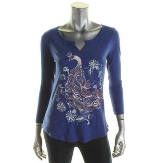 Lucky Brand Womens Pullover Top Graphic Cotton - xs