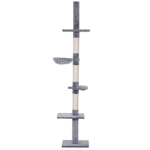 PawHut 8.5' Adjustable Height Floor-To-Ceiling Vertical Cat Tree with 5 Carpeted Platforms & 3 Sisal Rope Scratching Areas