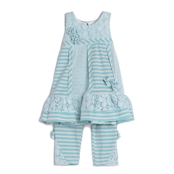 d0cfa52eb2e Shop Isobella   Chloe Little Girls Light Blue Stripe Lace 2 Pc Outfit -  Free Shipping On Orders Over  45 - Overstock - 19429555