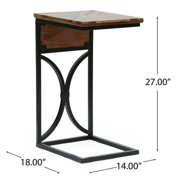 """Oakes Mango Wood Handcrafted C Shaped Side Table by Christopher Knight Home - 18.00"""" D x 14.00"""" W x 27.00"""" H"""