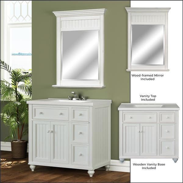 Shop Black Friday Deals On Miseno Mvdcr36com 36in Bathroom Vanity Set Cabinet Stone Top And Mirror Included Overstock 18621196