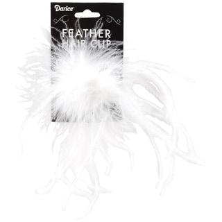 Ostrich Feather Hair Clip-White - White