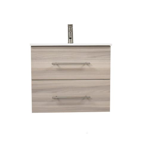 Volpa USA Napa 30-inch Ash Grey Wall-Mounted Floating Bathroom Vanity Set