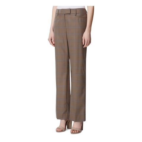 TAHARI Womens Brown Plaid Straight leg Pants Size 2