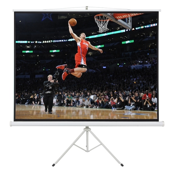 Onebigoutlet Portable Tripod Stand Projector 80x60 Projection Screen, 100-inch, 4:3 Ratio, White