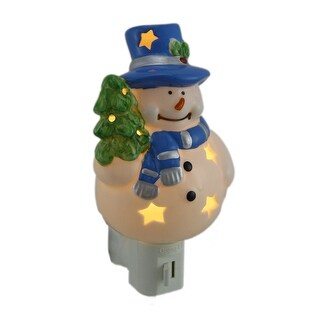 Starry Snowman Porcelain Plug In Night Light - White