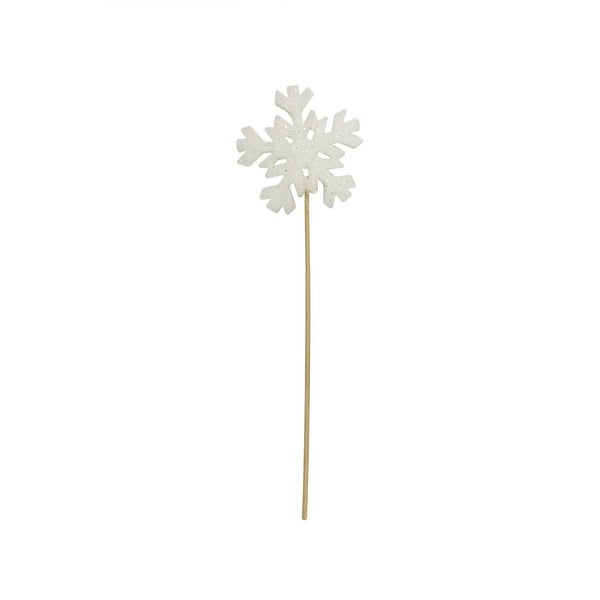 "13"" Tell a Story Winter Frost White Christmas Snowflake Pick"
