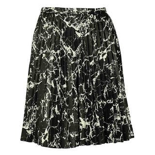 Calvin Klein Women's Faux Leather Pleated Skirt - black/white pattern|https://ak1.ostkcdn.com/images/products/is/images/direct/3ce7fee3e682662da2f4f085d5f973b87db08f49/Calvin-Klein-Women%27s-Faux-Leather-Pleated-Skirt.jpg?impolicy=medium