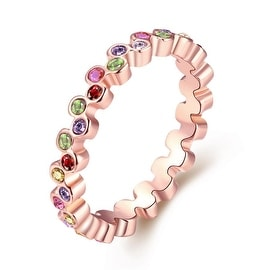 Multi-Color Eternity Ring Rose Gold-Plated Ring