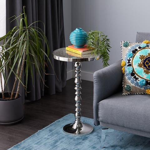 Silver Aluminum Glam Accent Table 26 x 16 x 16 - 16 x 16 x 26Round