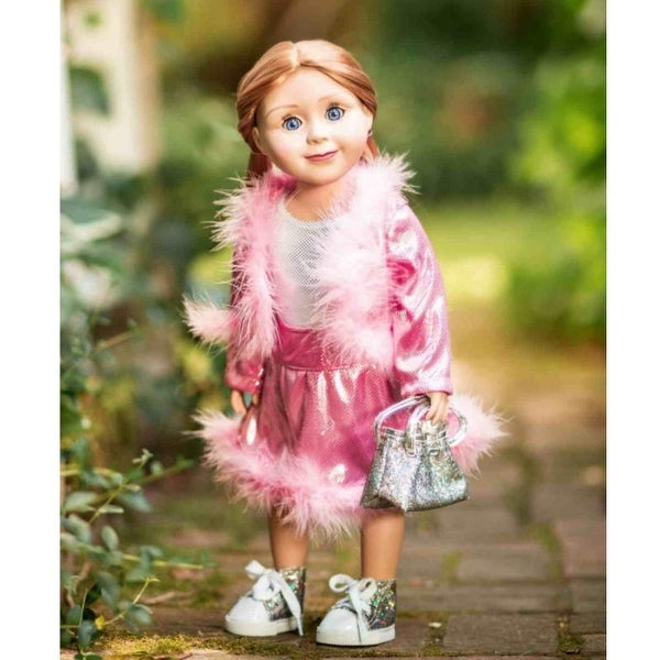 Pretty in Pink Ruffled Legging Set made for 18 inch American Girl Doll Clothes