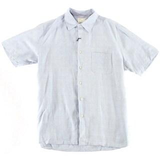 Tasso Elba NEW Moonstone Blue Mens Size Large L Button Down Silk Shirt