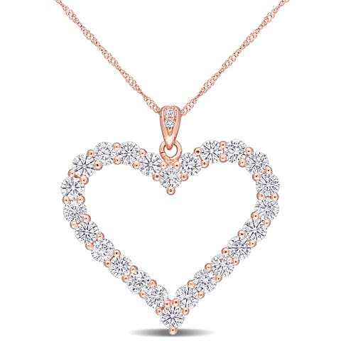Miadora 2 2/5ct TGW Created Moissanite Heart Necklace in Rose Plated Sterling Silver