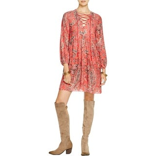 Free People Womens Rain Or Shine Casual Dress Printed Lace-Up