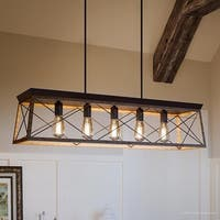 "Luxury Industrial Chic Island/Linear Chandelier, 9""H x 38""W, with Modern Farmhouse Style, Olde Bronze Finish by Urban Ambiance"