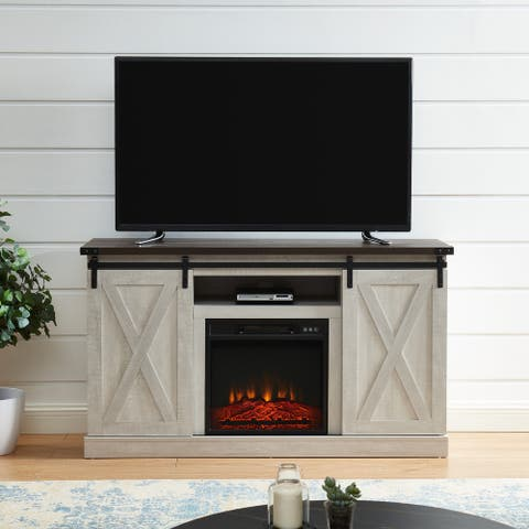 """""""X"""" shaped Farmhouses TV Stand Media Console Table Living Room With Fire Place"""